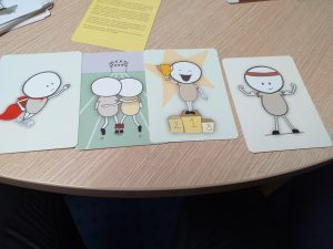 A series of picture cards.