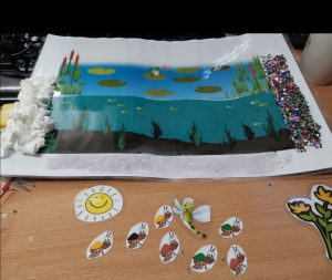 A handmade picture of an ocean scene, showing under the waves and the sea bed.