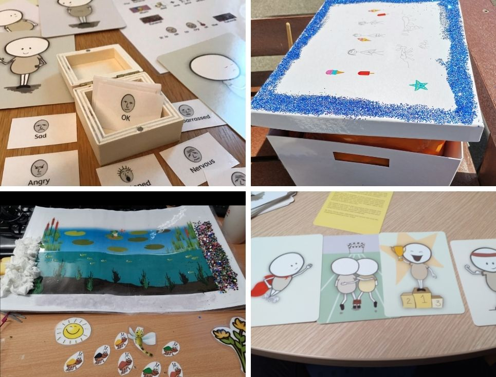 A collage of images showing various creative tools used when supporting people with learning disabilities to cope with bereavement.